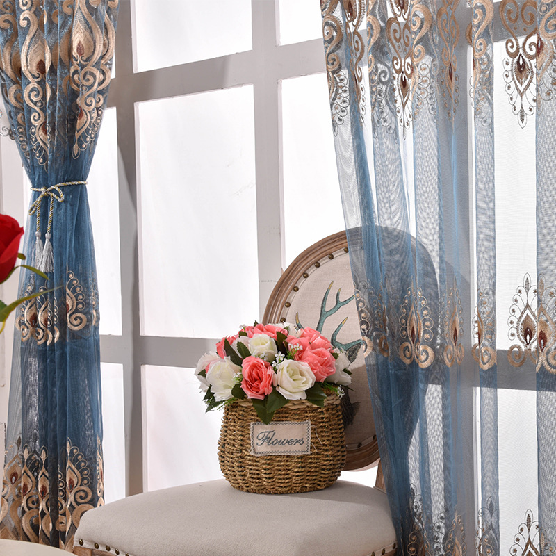 Blue Embroidered Sheer Tulle Curtains For Living Room Window Curtain For Bedroom Curtains Cortinas S291&30