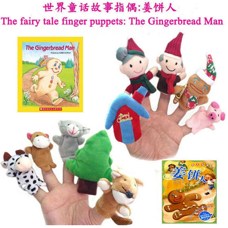 50 pcs/5sets/lot, Baby Plush Toy Fairy Tale Finger Puppet The Gingerbread Man Finger puppets Toy Learning & Education Toy | Stuffed & Plush Animals