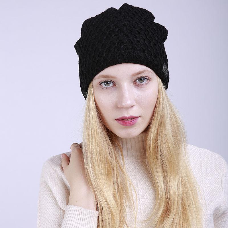 25ae9fbbc1e 2018 Women Winter Cap Fleece Slouchy Beanie Hat Thicken Cashmere Hat ...