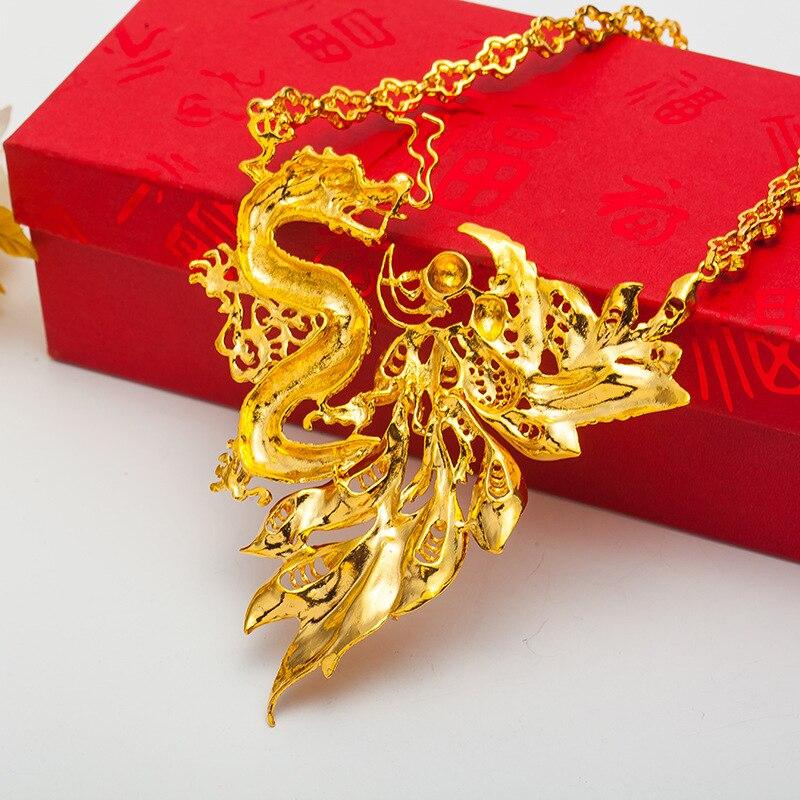 Rétro Dragon & Phoenix pendentif collier amulette de mariée mariage or rempli charme bijoux cadeau - 6