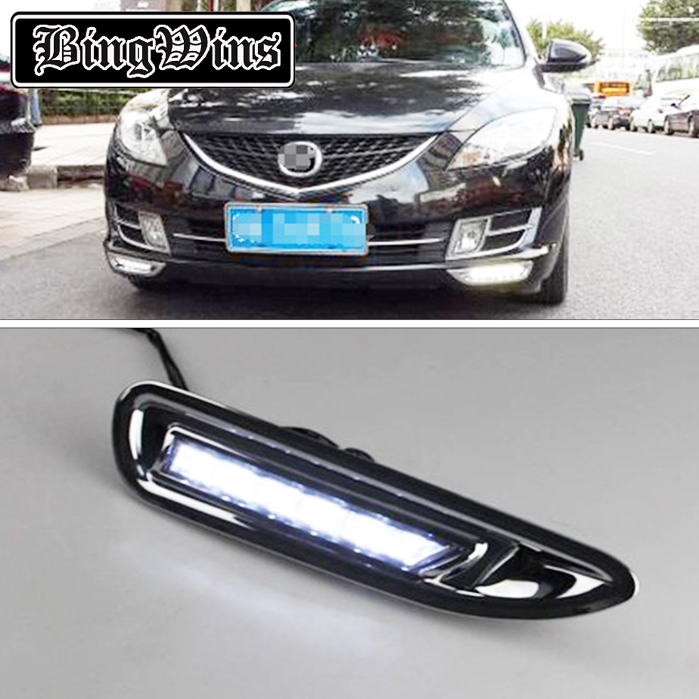 High quality and Waterproof LED Car DRL Daytime running lights fog light For <font><b>Mazda</b></font> <font><b>6</b></font> <font><b>2010</b></font> 2011 2012 2013 With Chromed Cover image