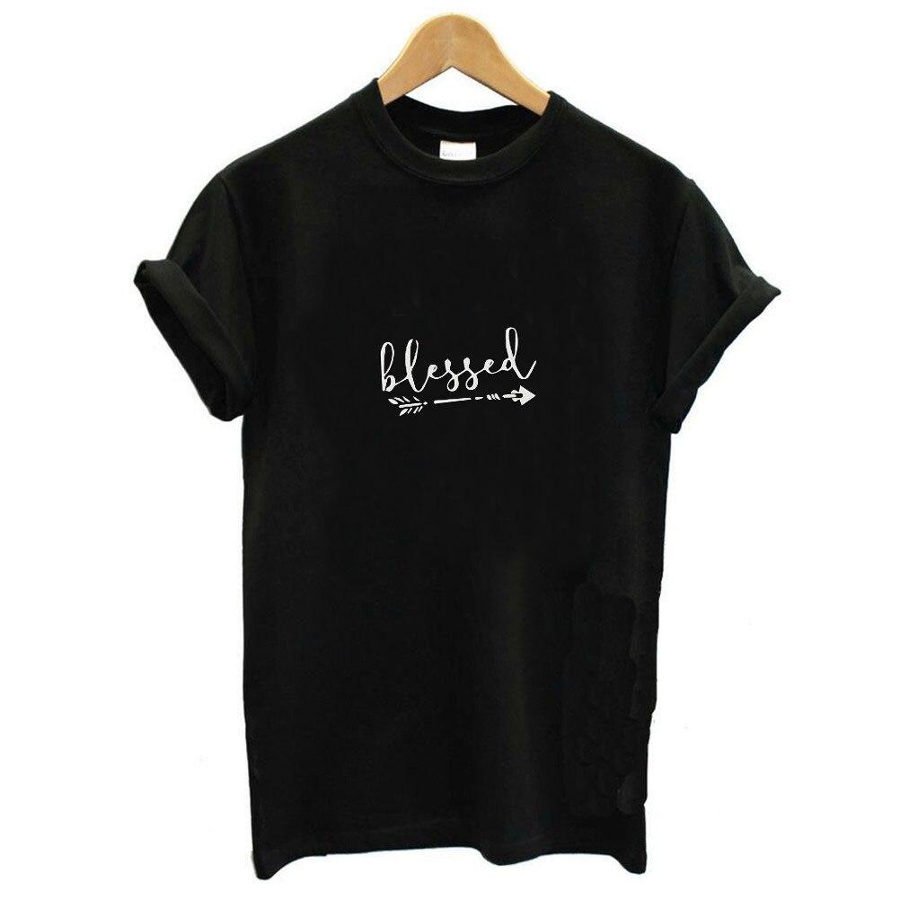 2019 Summer Women Tee Shirt Tops Camisetas Mujer Blessed Letter Arrow Print T Shirt Women Short Sleeve O Neck Loose Tshirt