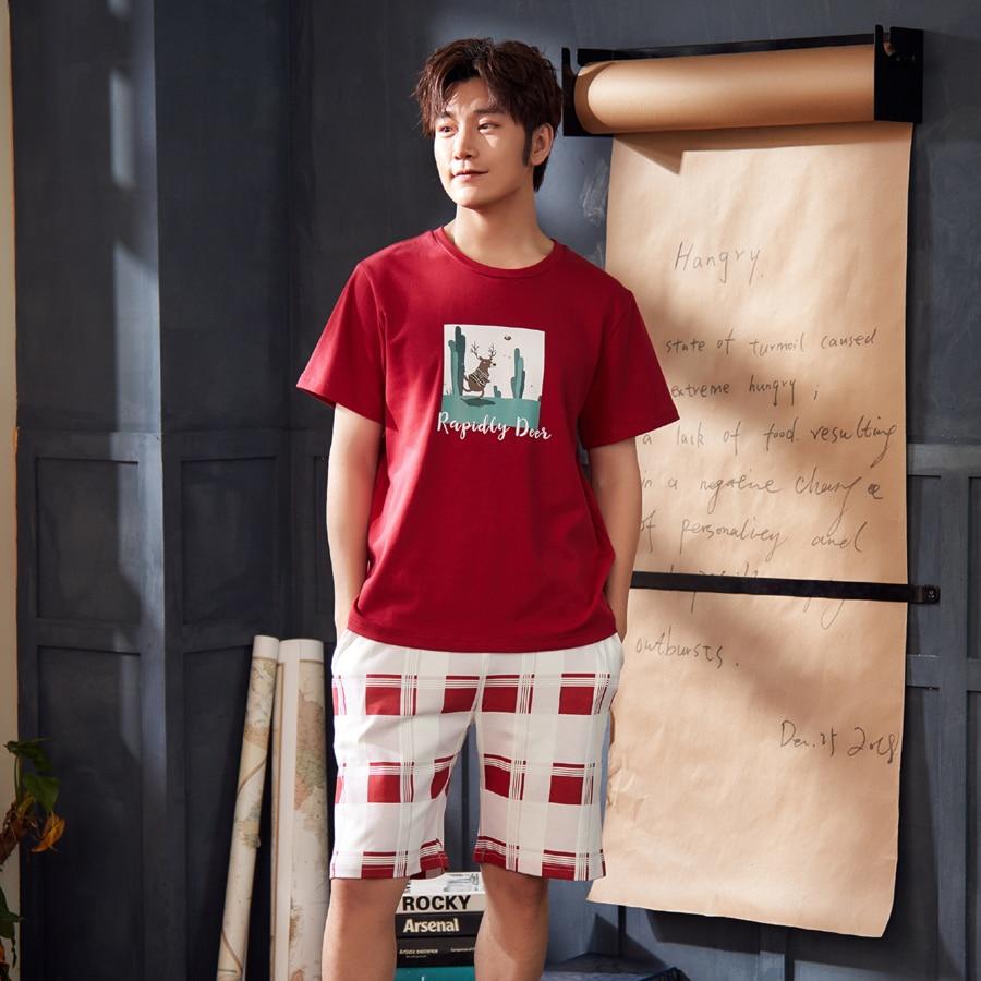 Short Sleeved Men's Pajamas Set Summer Pajama Man Pyjama Homme Knitted Cotton Male Sleepwear Suit Homewear Pijama Hombre XXXL