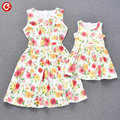 Mother Daughter Dresses 2016 Summer Matching Mother And Daughter Women Clothes Sleeveless Floral Family Look Clothing Outfits