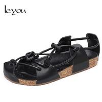 Leyou Men Sandals Leather Summer Shoes Men Sandals Gladiator Lace Cork Sandals 2018 Flat Close Shoes New