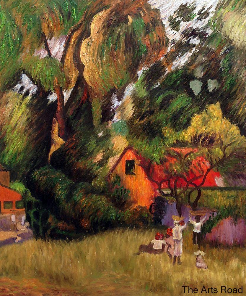 Huttes Sous Les Arbres 1887 By Paul Gauguin Landscape Paintings For Living Room Home Decor Art