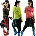 Estágio desempenho traje Jazz dança hip hop neon Sexy recorte t-shirt