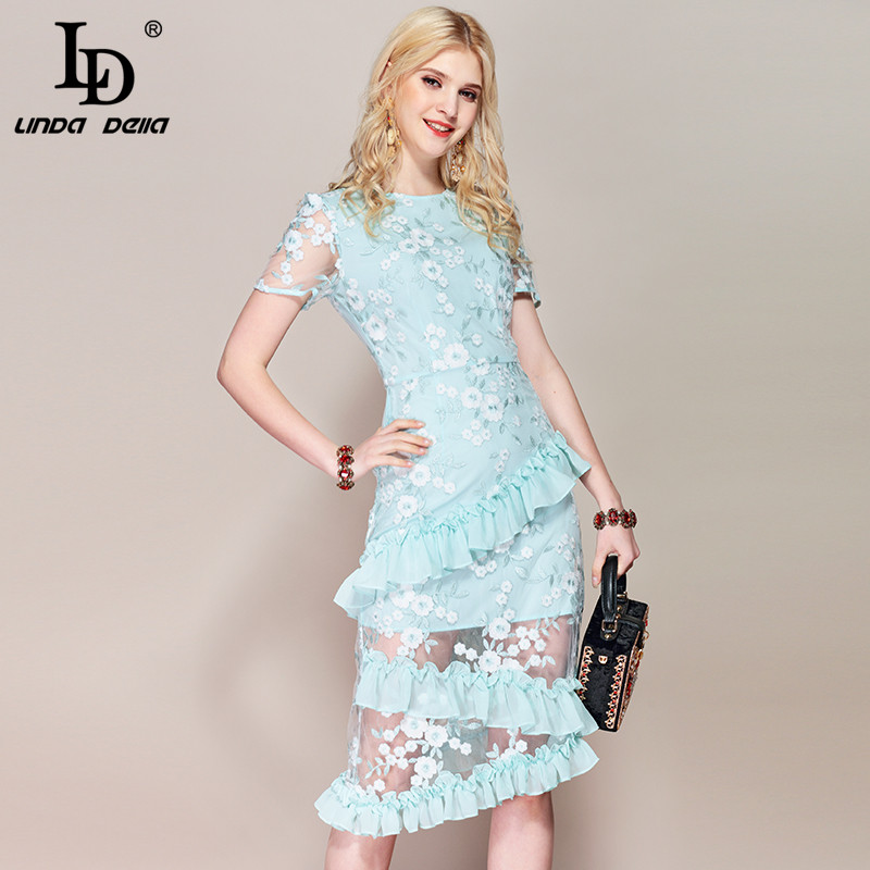 LD LINDA DELLA Blue Mesh Flower Embroidery Dress 2019218