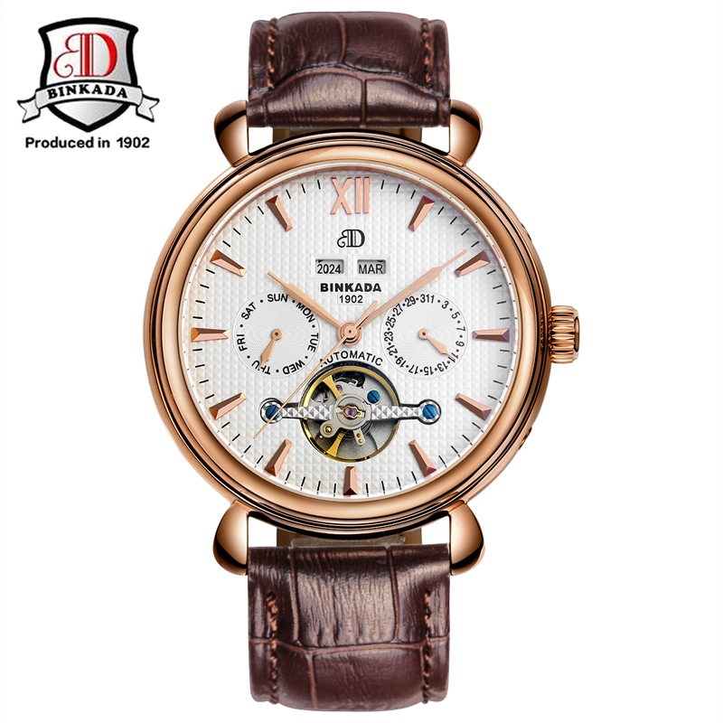 2017 BINKADA Men Skeleton Dial New Fashion Stainless Steel Luxury Design Classic Automatic Mechanical Watch Year Month Function delicate fashion men businss elegant luxury design men s fashion skeleton mechanical stainless steel watch gold ju8