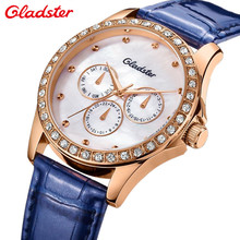 New Gladster Watches Women 3 Time Zone Alloy Case Blue Leather Strap Luxurious Ladies Watch With Rhinestones Montre Carter Femme