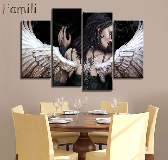 4pcs Set Large Hd Printed Oil Painting Angel Canvas Print Art Home Decor Idea Wall Pictures For Living Room