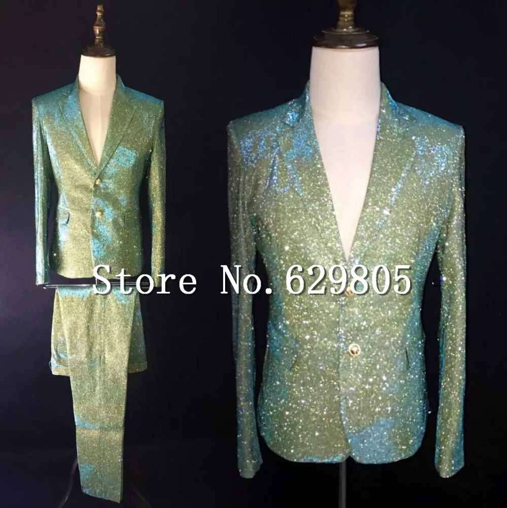 Erkek Kıyafeti'ten T. Elbise'de Ince Parlayan Degrade Renk Takım Elbise Seti Erkek Şarkıcı Gece Kulübü Odak Yeşil Degrade Sıska Takım Elbise Blazer Pantolon Erkek Bar Kostüm'da  Grup 1