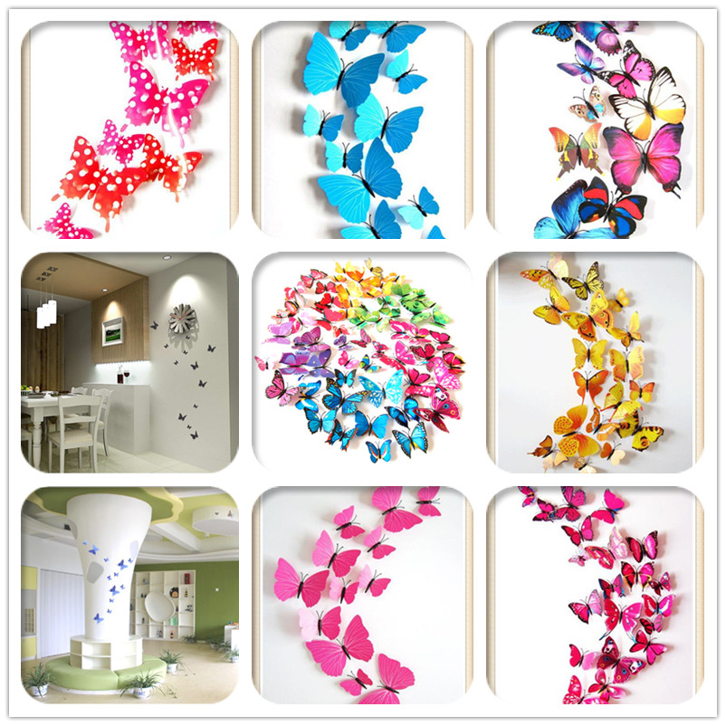 12pcs bag 3d butterfly stickers for wall decorations