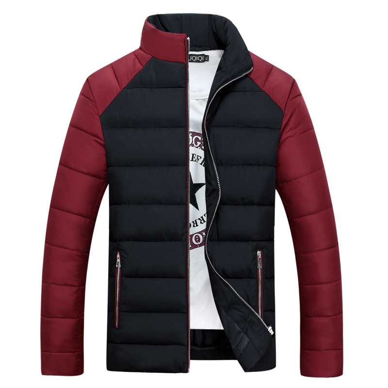 Winter Tide Brand New Cool Men's Cotton Slim Collar Thickening Stitching Padded Jacket Causal Long Sleeve Zipper Coat Tops Size