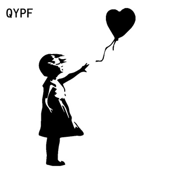 QYPF 9.7cm*15.7cm Endless Childlike Innocence Big Wind Blows No Balloons Leave Regret Delicate Vinyl Car Sticker Decal C18-0989 image