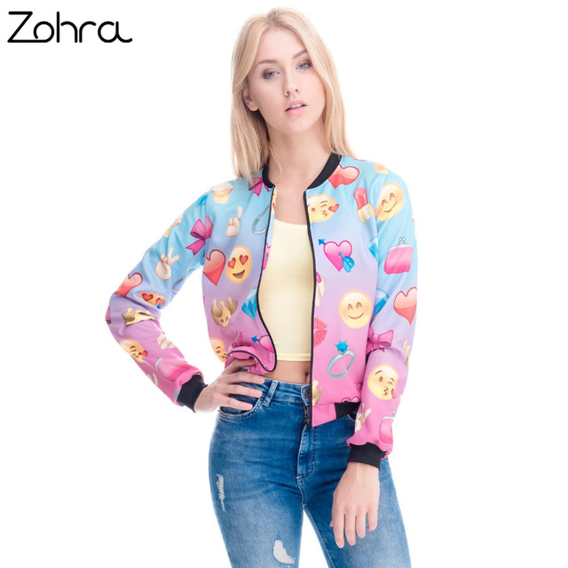 Zohra New arrival Womens Bomber Jacket 3D Printed Emoji Jackets Short Paragraph Coats University Teenager Outwear Jackets