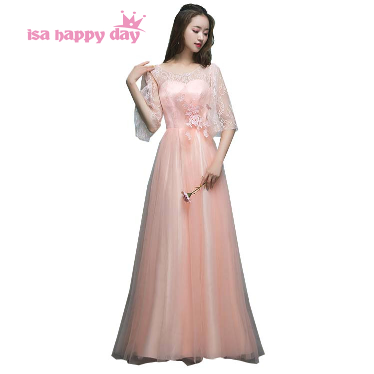 country robe adolescente peach long tulle 16 birthday   dress     bridesmaid     dresses   different styles for wedding guests H4171