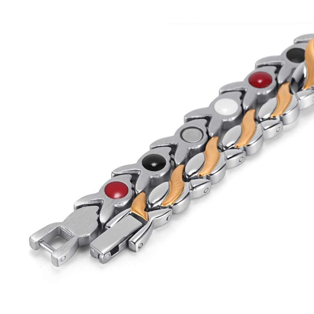 Rainso zdrowie bransoletka magnetyczna dla kobiet bransoletki ze stali nierdzewnej i bransolety ze zdrowiem germanu Link Chain bransoletki 1551