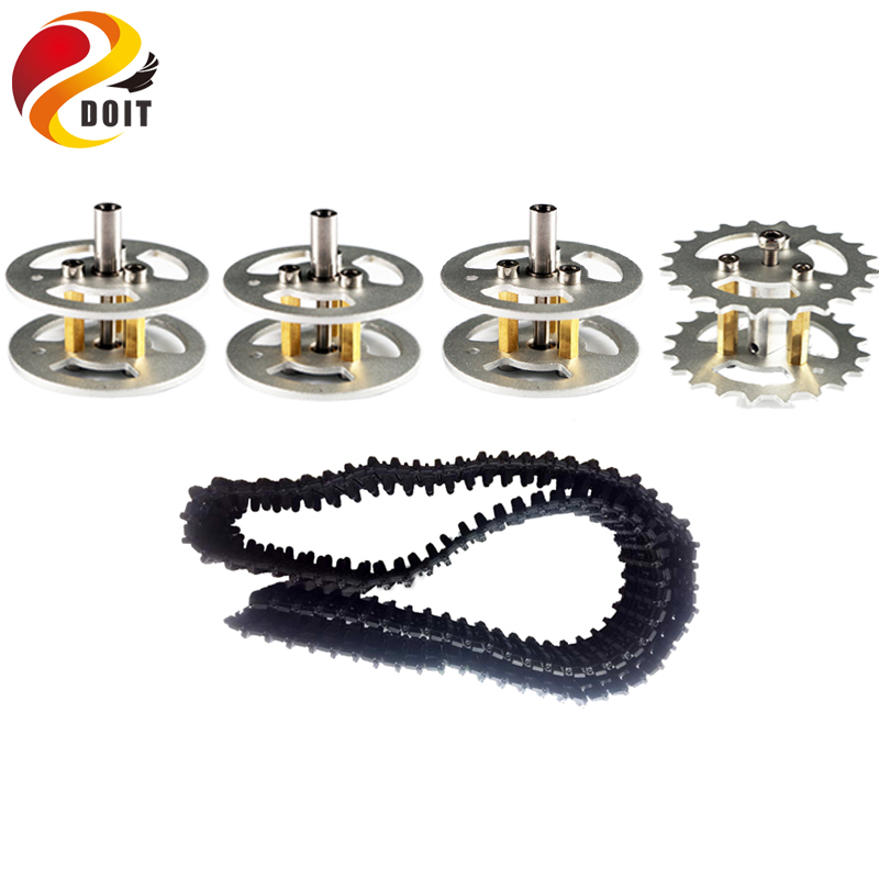 DOIT One Set Accessory for Robot Tank Car Chassis including Metal Bearing Wheel, Driving Wheel, Tracks, Motor DIY RC Toy Part 2 wheel drive robot chassis kit 1 deck