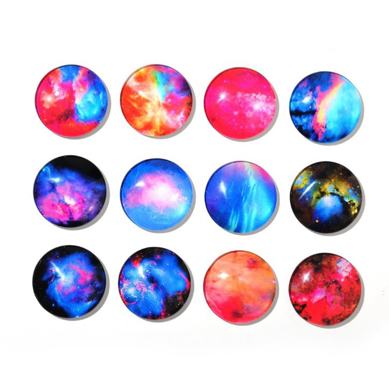 5 Pcs/lot Cute Star Galaxy Pattern Dome Glass Refrigerator Sticker Fridge Magnet Toy Glass Cabochon Fridge Magnet Home Decor