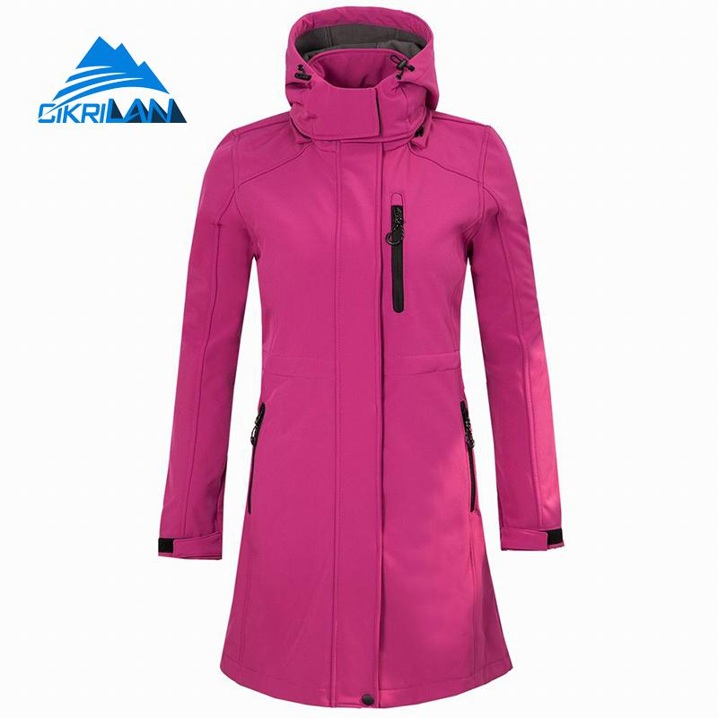 Womens Water Resistant Sport Softshell Long Jackets Hiking Climbing Skiing Outdoor Jacket Women Camping Trekking Fishing Coat