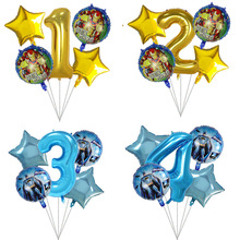 5pcs/lot Superhero Batman Iron Man Foil Balloons 30inch Blue Number Inflatable Ball Birthday Party Decor Kids Toys Star Globos