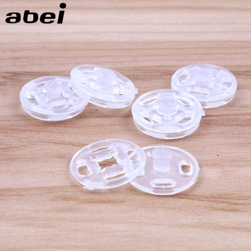 100 Sets/Lot 11mm 13mm Transparent Snap Button Plastic Clear Snaps  Fasteners Press Sewing Tools Handmade Accessories Supplier