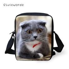 ELVISWORDS Fashion Women Messenger Bags Little Scotland Fold Cats Pattern Girls Flaps Cross Body Travel Mini Purses
