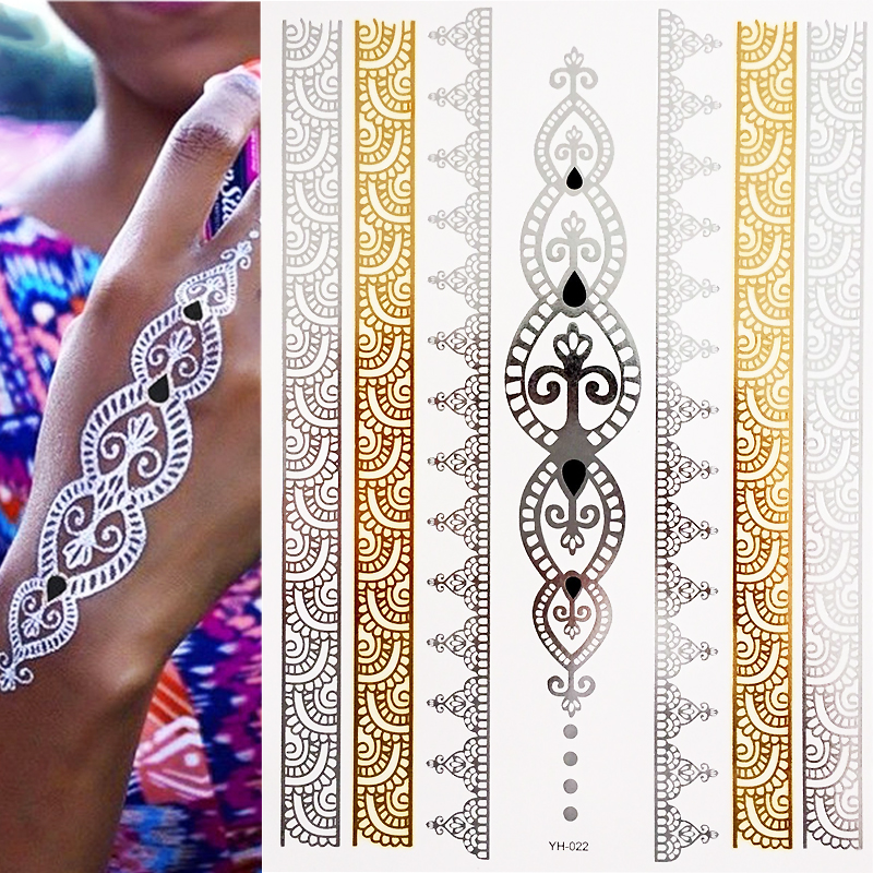 Temporary Boho Metallic Henna Tattoos - Over 25 Mandala Mehndi Designs In Gold And Silver (1 Sheets)