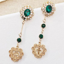 Charmcci New Vintage Green Stone Long Earrings Fashion Cross Heart Drop For Women Temperament Party Accessoires