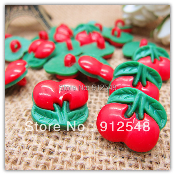 Free shipping 16mm 100pcs red Cherry plastic buttons flower buttons for children garment ,yt005