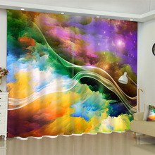Rainbow Color Curtains for Living Room Dorm Bedroom Home Decorations Kitchen Door Short Window Blackout Drapes
