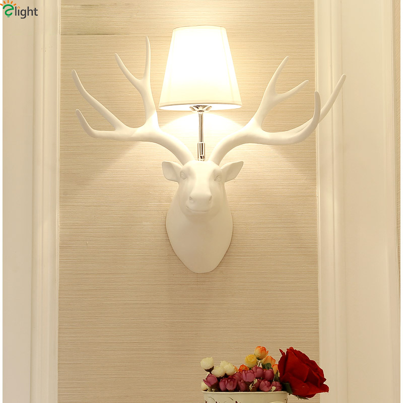 American Retro Resin Antlers Led Wall Lamp Simple Fabric Shades Living Room Led Wall Lights Bedroom Led Wall Lamps Fixtures