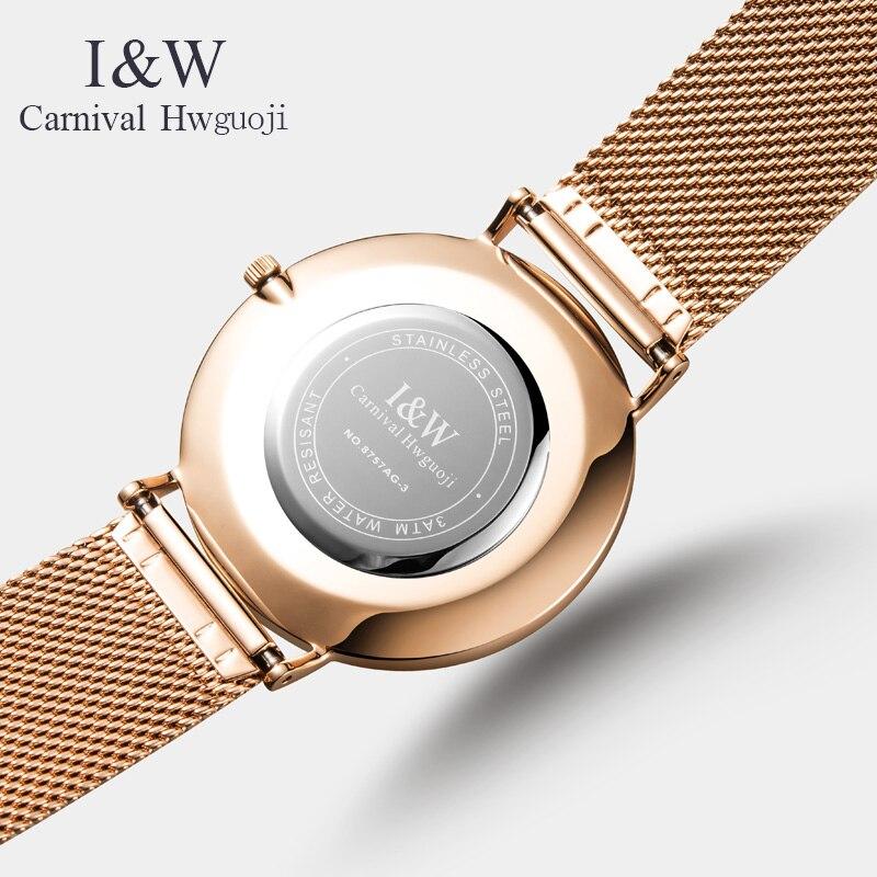 Carnaval nuevo Casual malla Correa moda cuarzo rosa oro reloj hombres relojes marca superior reloj impermeable de lujo - 4