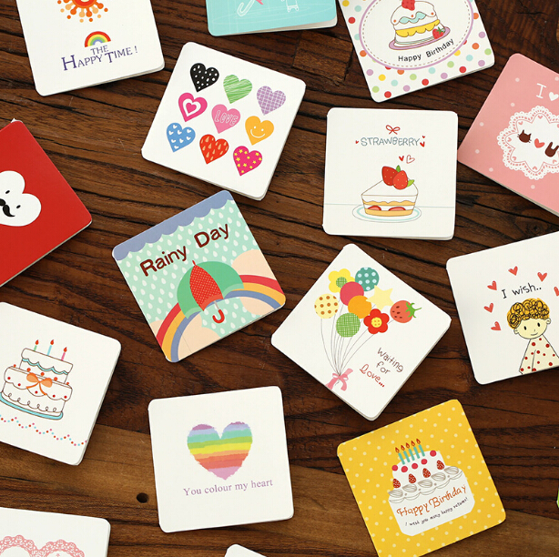 2 pcs/lot Sweet Cartoon Design Greeting Cards Gift Birthday Card(tt-4044)