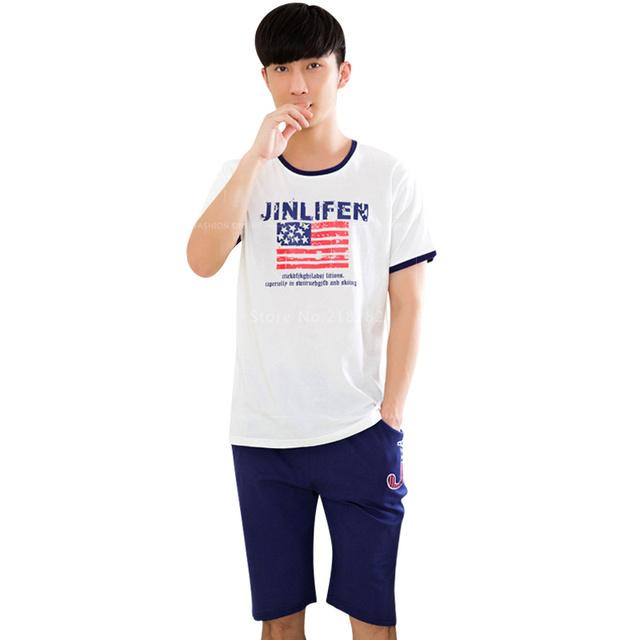 Los nuevos Mens Del Verano Pijama de Manga Corta Pijama ropa de Dormir de Algodón Pantalones Cortos Azul Marino de Los Hombres Dormir y Descansar Blanco Camisetas de Los Hombres de Moda