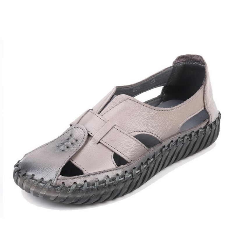 0be23b92509d4 ... Soft New Flat Real Sandals Fashion Female Retro Sandals Summer Shoes  Wild Shoes Summer Comfortable Leather ...
