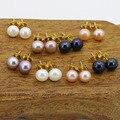 Venda por atacado! 7-8mm de Água Doce pérola brincos (8 conjunto de 4 cores) mulheres jóias artesanais DIY adequado colocação estilo design de moda