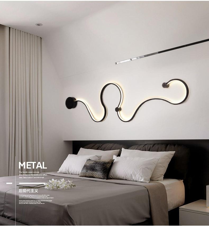 HTB1l8Z0VxjaK1RjSZFAq6zdLFXac - Sconce/led wall lights dimmable/bedroom/bedside wall lamps modern/black/white wall lamps for home/living room/foyer aluminum