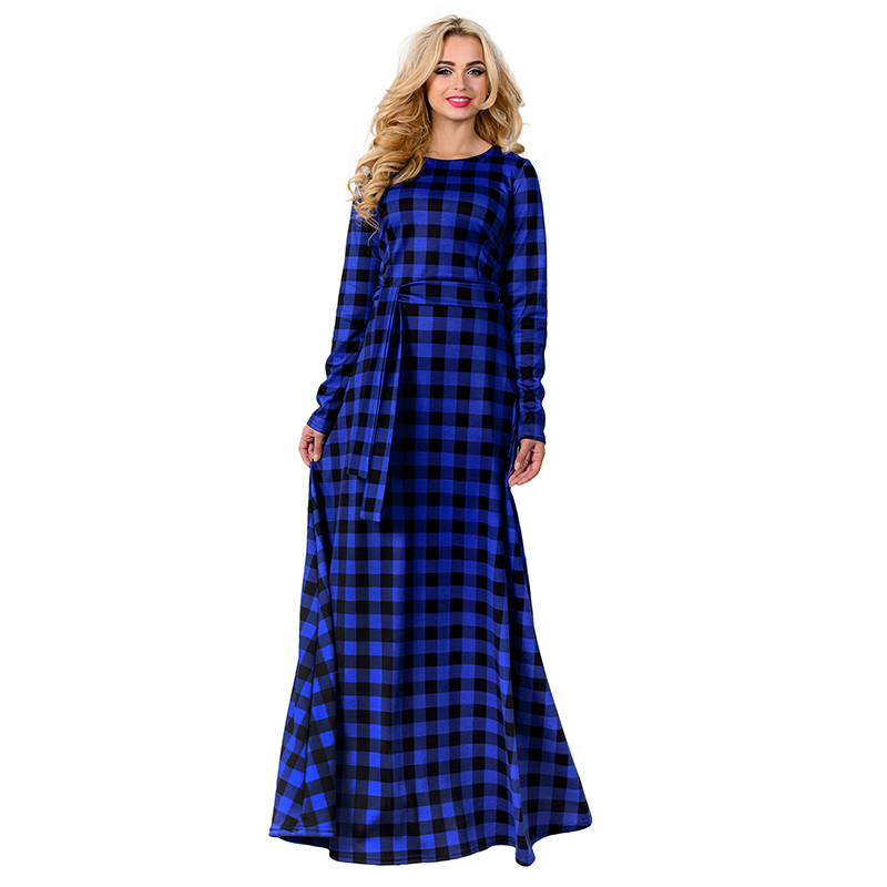 f4484d3d3cc US $15.79 20% OFF|5XL 6XL 2018 Women Long Maxi Dress Autumn Vintage Plus  Size Dress Fashion Red Plaid Dress Vestido Large Size Evening Party  Dress-in ...