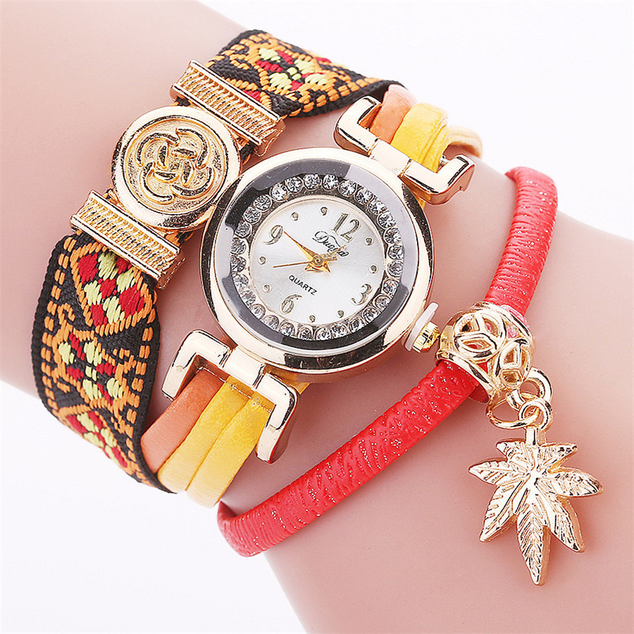 10 pcs Creative ethnic style hand-knitted circle bracelet watch Fashion alloy leaf pendant casual female watch stylish leaf pendant embellished multi layered bracelet watch for women