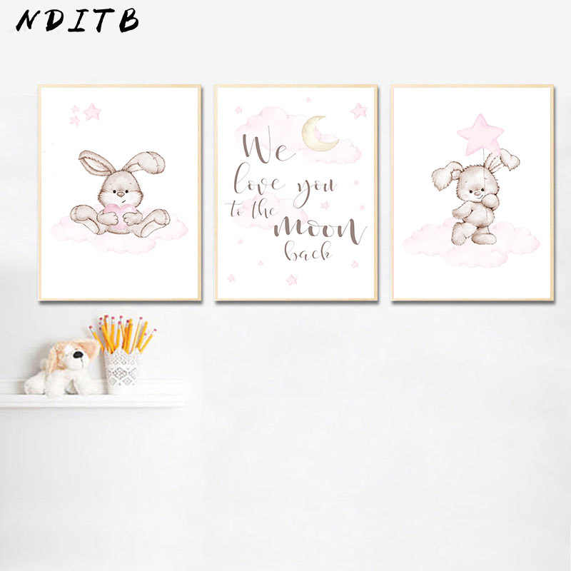 Cute Bunny Rabbit Cloud Animal Child Poster Nursery Quotes Canvas Wall Art Print Nordic Kids Bedroom Decoration Picture Painting