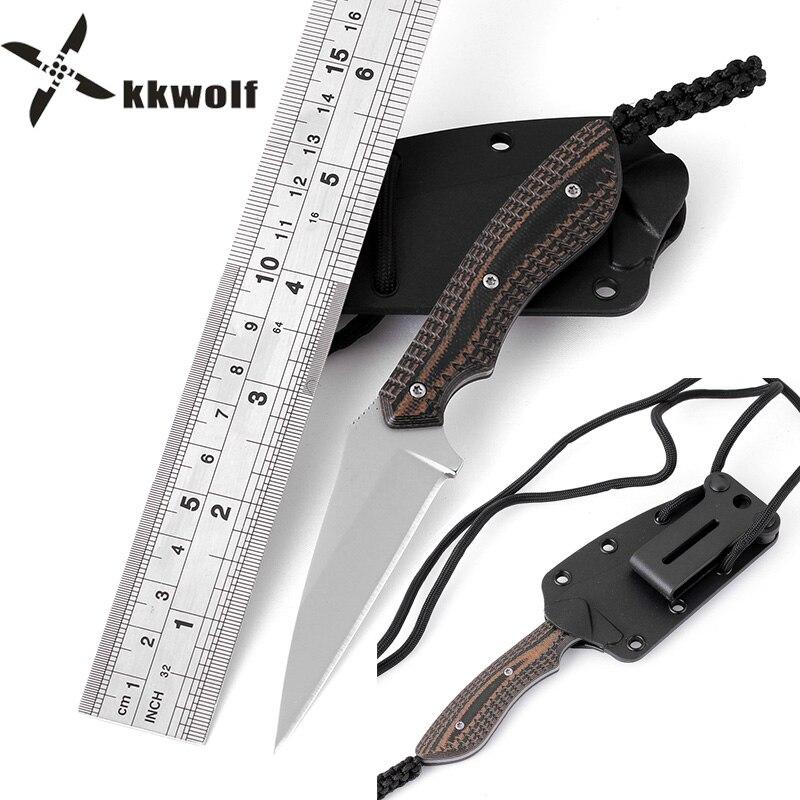 Kkwolf nuevo bolsillo cuchillo collar 8CR13MOV gris titanio camping ...