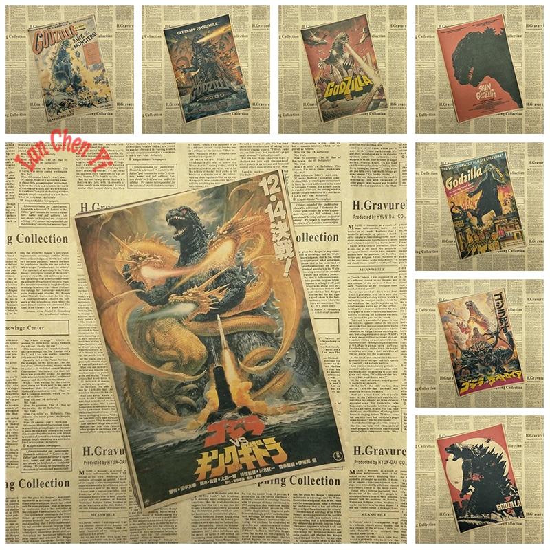 Godzilla Classic Movie Kraft Paper Poster Bar Cafe Living Room Dining room Wall