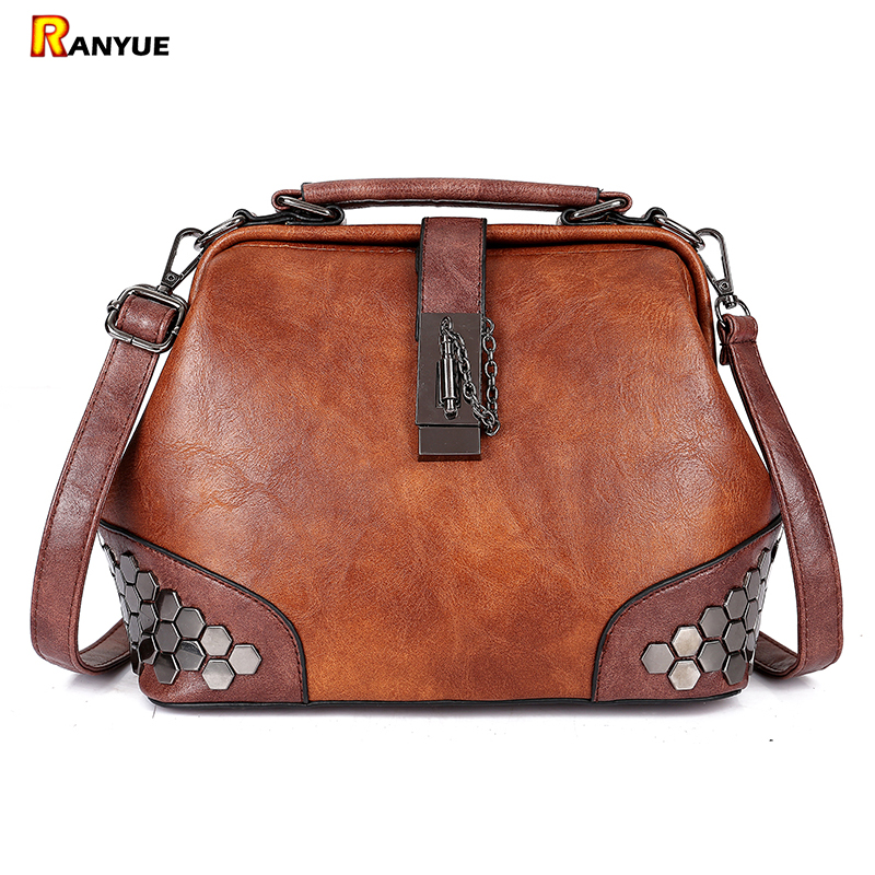 Retro Women Bag Panelled Vintage Doctor Bag Women Handbag Rivet Women  Messenger Bags Pu Leather Tote Bolsa Feminina Purse Small 827c42a126627