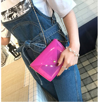 2017 New Fashion Summer Women Beach Bag Candy Color Jelly Bags Female Transparent Chain Shoulder Bags