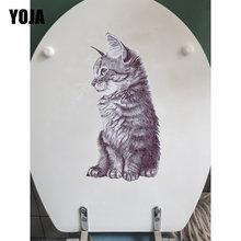 Yoja 14.2*24.5 cm animal esboço gato toalete adesivo decoração casa quarto decalque da parede T1-0099