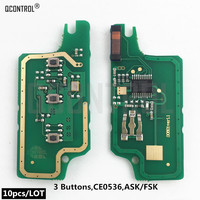 QCONTROL Remote Key Electronic Circuit Board for Peugeot 207 208 307 308 408 CE0536 ASK/FSK Signal 3 buttons