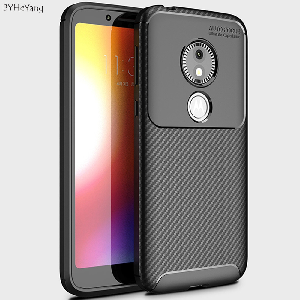BYHeYang Carbon Fiber Case For MOTO E5 PLAY GO Cover funda Bumper Silicone Cover Ultra Thin Capa For moto e5 play go Cover shell