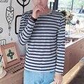 Горячая 2016 Летняя Мода Мужская Рубашка Пуловеры Полоса О-Образным Вырезом С Коротким Рукавом Тонкий Fit Рубашки поло Белый/Красный/Синий/Серый 4 цвета